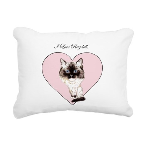 I Love Ragdolls Rectangular Canvas Pillow