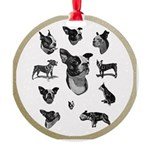 Boston Terriers Round Ornament