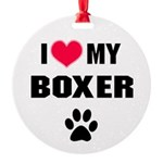Boxer Dog Round Ornament