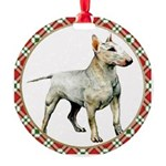 White Bull Terrier Round Ornament