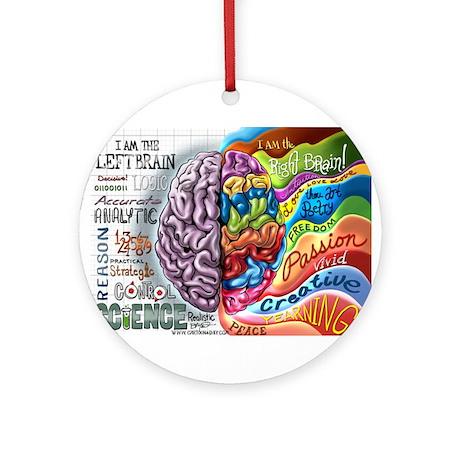 Left Brain Right Brain Cartoon Poster Ornament (Ro
