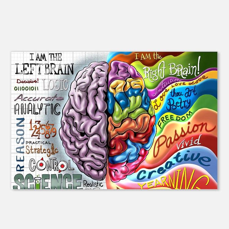 Left Brain Right Brain Cartoon Poster Postcards (P