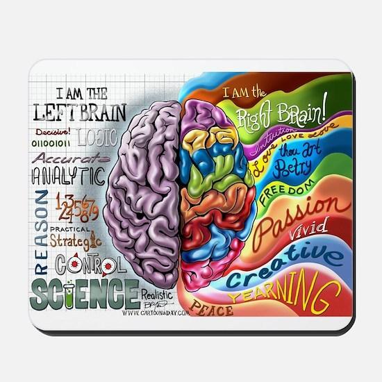 Left Brain Right Brain Cartoon Poster Mousepad