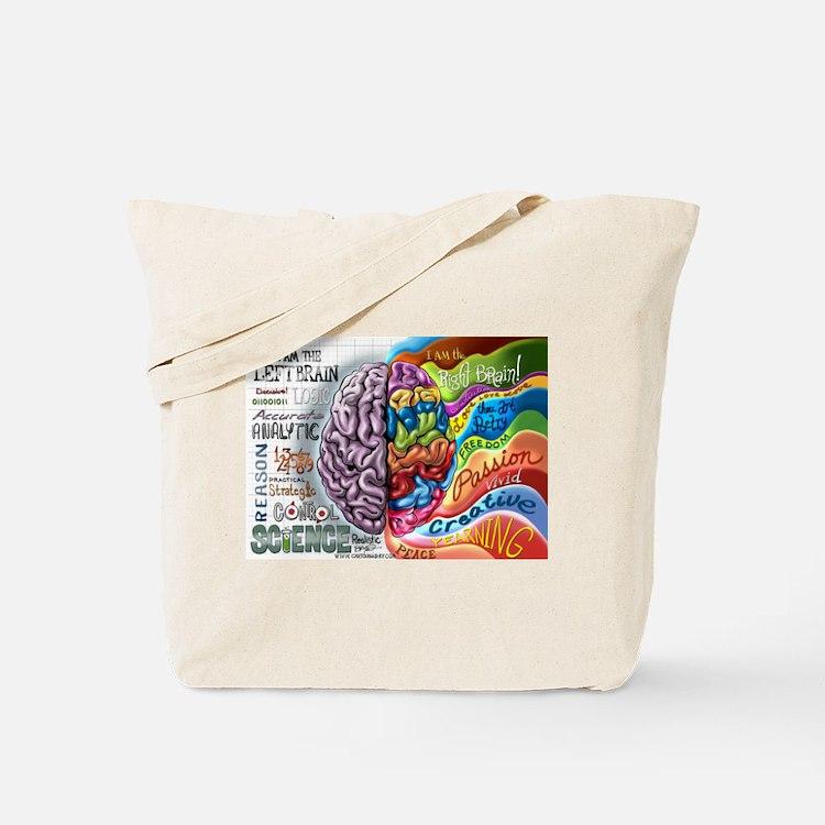 Left Brain Right Brain Cartoon Poster Tote Bag