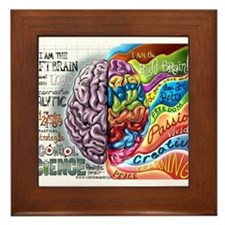 Left Brain Right Brain Cartoon Poster Framed Tile