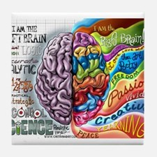 Left Brain Right Brain Cartoon Poster Tile Coaster