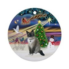 XmasMagic-Snow Shoe cat Ornament (Round)