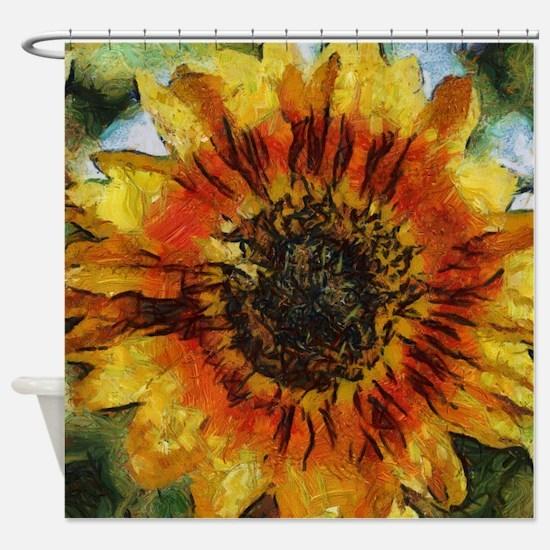Sunflower Painting Shower Curtain