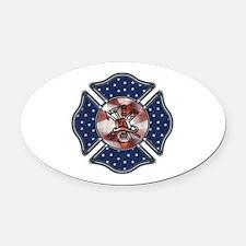 Patriotic Fire Dept Oval Car Magnet