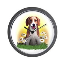 Beagle with Daisies Wall Clock