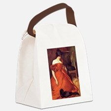 Cat on a Dress Canvas Lunch Bag