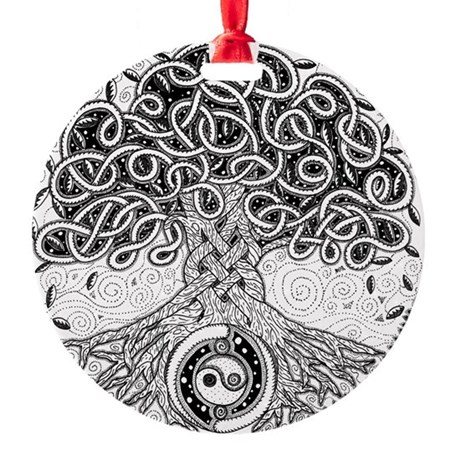 Celtic Tree of Life Ink Round Ornament