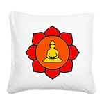Sitting Lotus Square Canvas Pillow