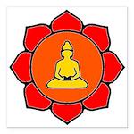 Sitting Lotus Square Car Magnet 3