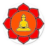 Sitting Lotus Round Car Magnet