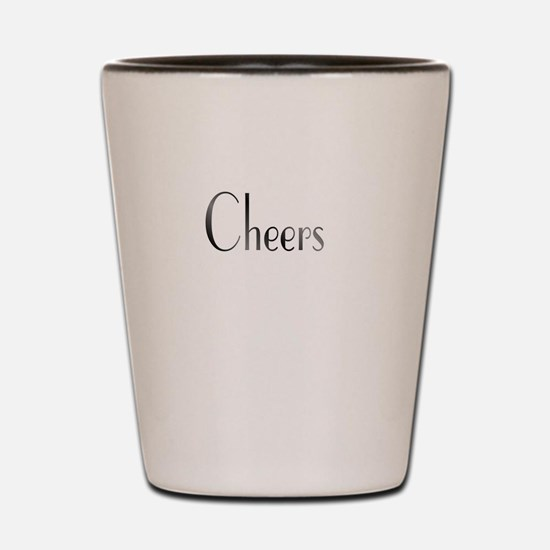 Cheers Black and White Shot Glass