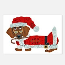 Dachshund Candy Cane Santa Postcards (Package of 8