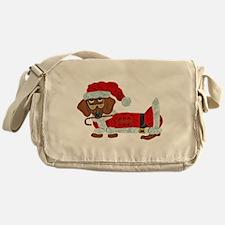 Dachshund Candy Cane Santa Messenger Bag