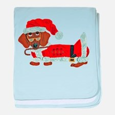 Dachshund Candy Cane Santa baby blanket