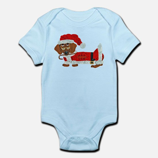 Dachshund Candy Cane Santa Infant Bodysuit