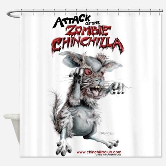 Attack of the Zombie Chinchilla Shower Curtain