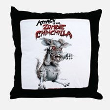 Attack of the Zombie Chinchilla Throw Pillow