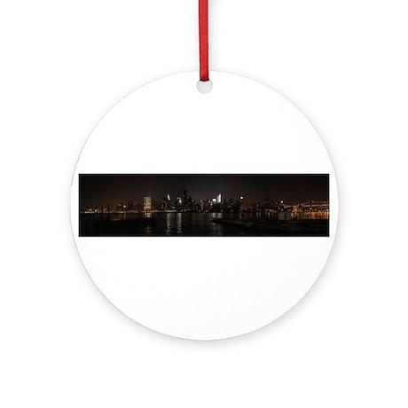 NIght Panoramic of New York City Ornament (Round)