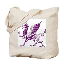 Purple And White Dragon Tote Bag