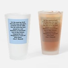 john f kennedy quote Drinking Glass