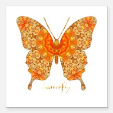 """Jewel Butterfly Square Car Magnet 3"""" x 3"""""""
