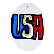 USA Block Letter Patriotic  Oval Ornament