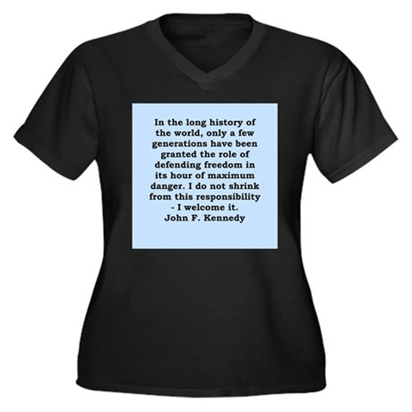 john f kennedy quote Women's Plus Size V-Neck Dark