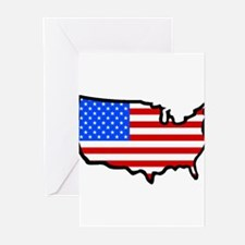 United States Flag Map Greeting Cards (Package of