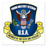 Vetetan 1 percent air force Square Car Magnets