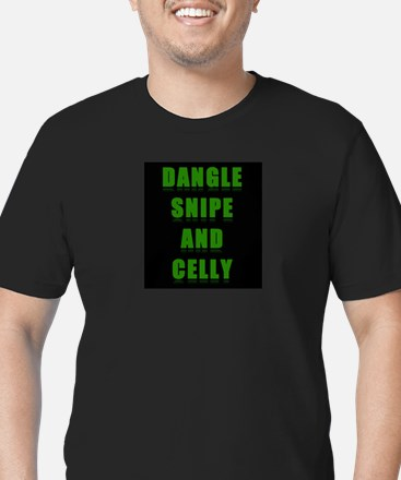 Dangle Snipe and Celly Men's Fitted T-Shirt (dark)