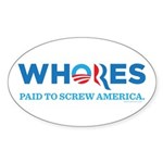 Whores 2012 Sticker (Oval)