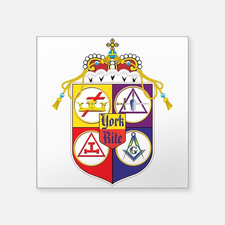 """York Rite Shield Square Sticker 3"""" x 3"""""""