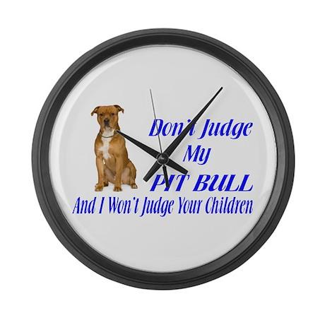 PITBULL JUDGEMENT Large Wall Clock