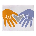 Art in Clay / Heart / Hands Throw Blanket