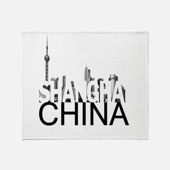 Shanghai Skyline Throw Blanket