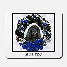 Shih Tzu Christmas Wreath Black Mousepad