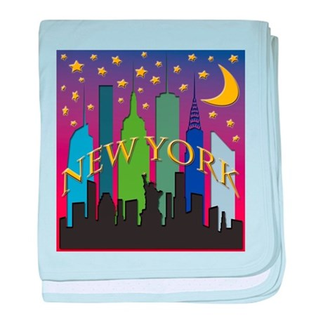 New York City Skyline rainbow baby blanket