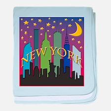 New York City Skyline rainbow baby blanket