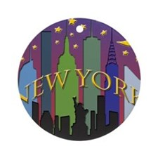 New York City Skyline rainbow Ornament (Round)