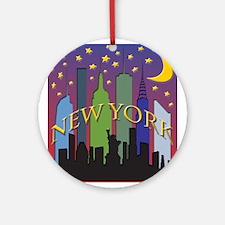 New York City Skyline rainbow Ornament (Round)