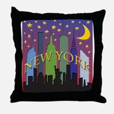 New York City Skyline rainbow Throw Pillow