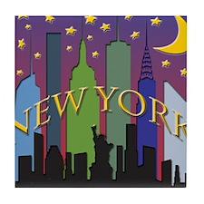 New York City Skyline rainbow Tile Coaster