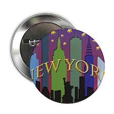 """New York City Skyline rainbow 2.25"""" Button"""