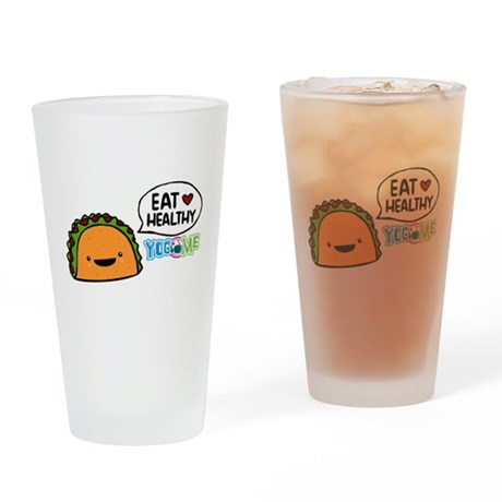 Eat healthy by yogome Drinking Glass