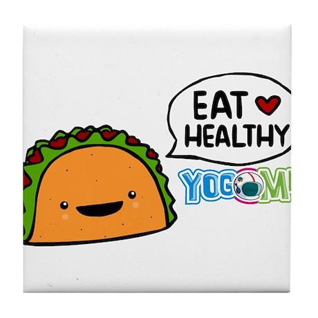 Eat healthy by yogome Tile Coaster
